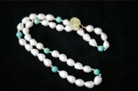 "17"" 8mm WHITE DROP 14CT GOLD PEARL NECKLACE & TURQUISE"
